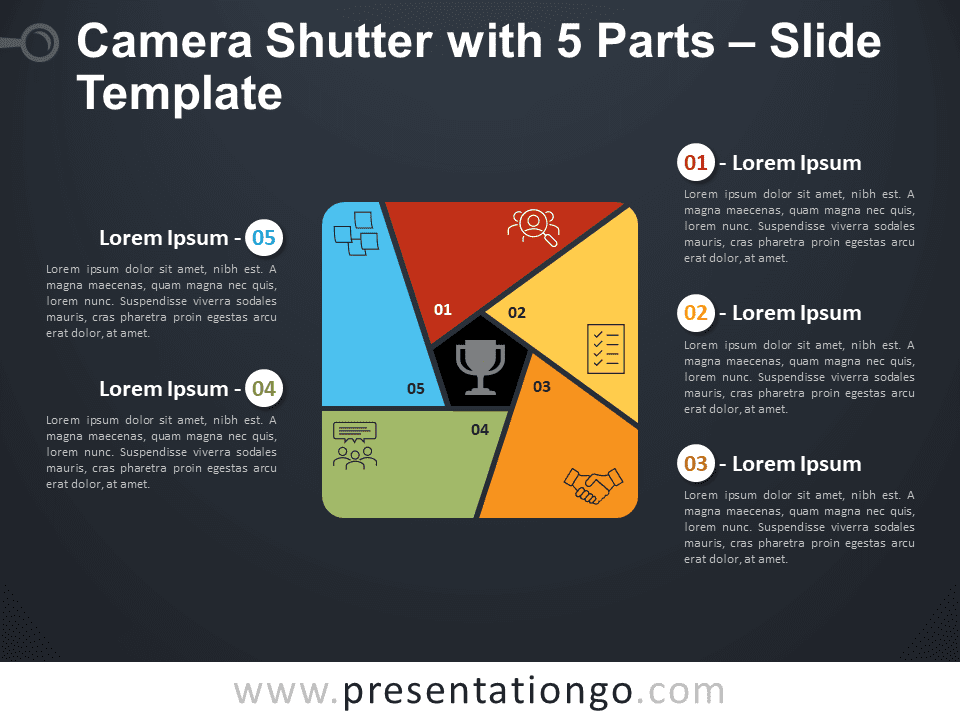 Free Camera Shutter with 5 Parts Diagram for PowerPoint