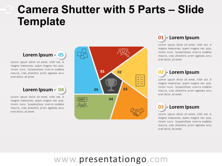 Free Camera Shutter with 5 Parts for PowerPoint