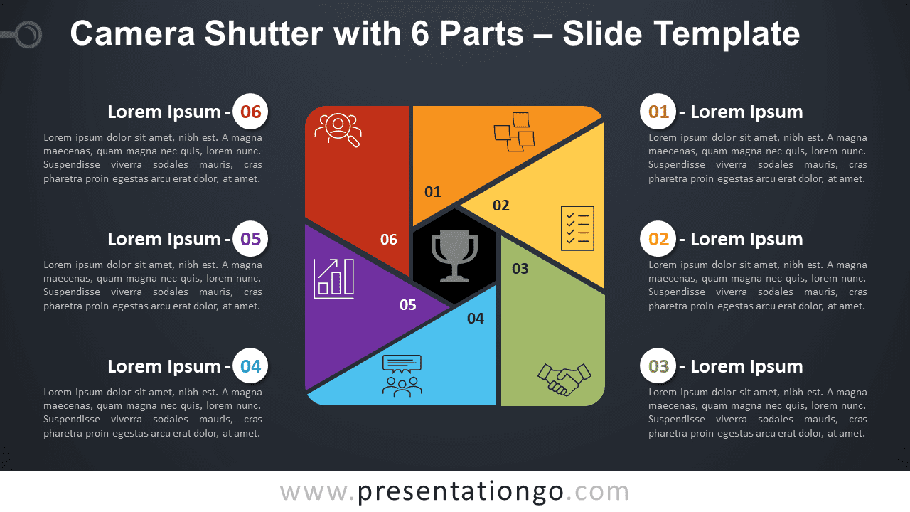 Free Camera Shutter with 6 Parts Diagram for PowerPoint and Google Slides