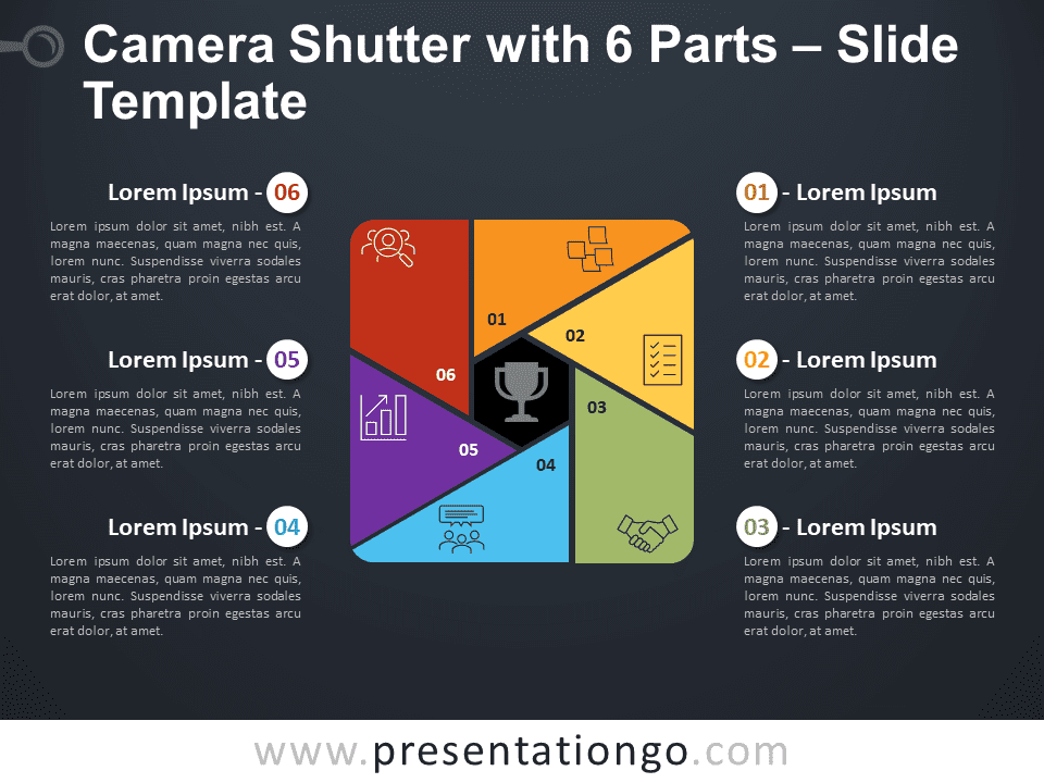 Free Camera Shutter with 6 Parts Diagram for PowerPoint