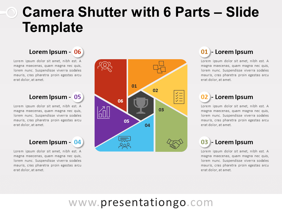 Free Camera Shutter with 6 Parts for PowerPoint