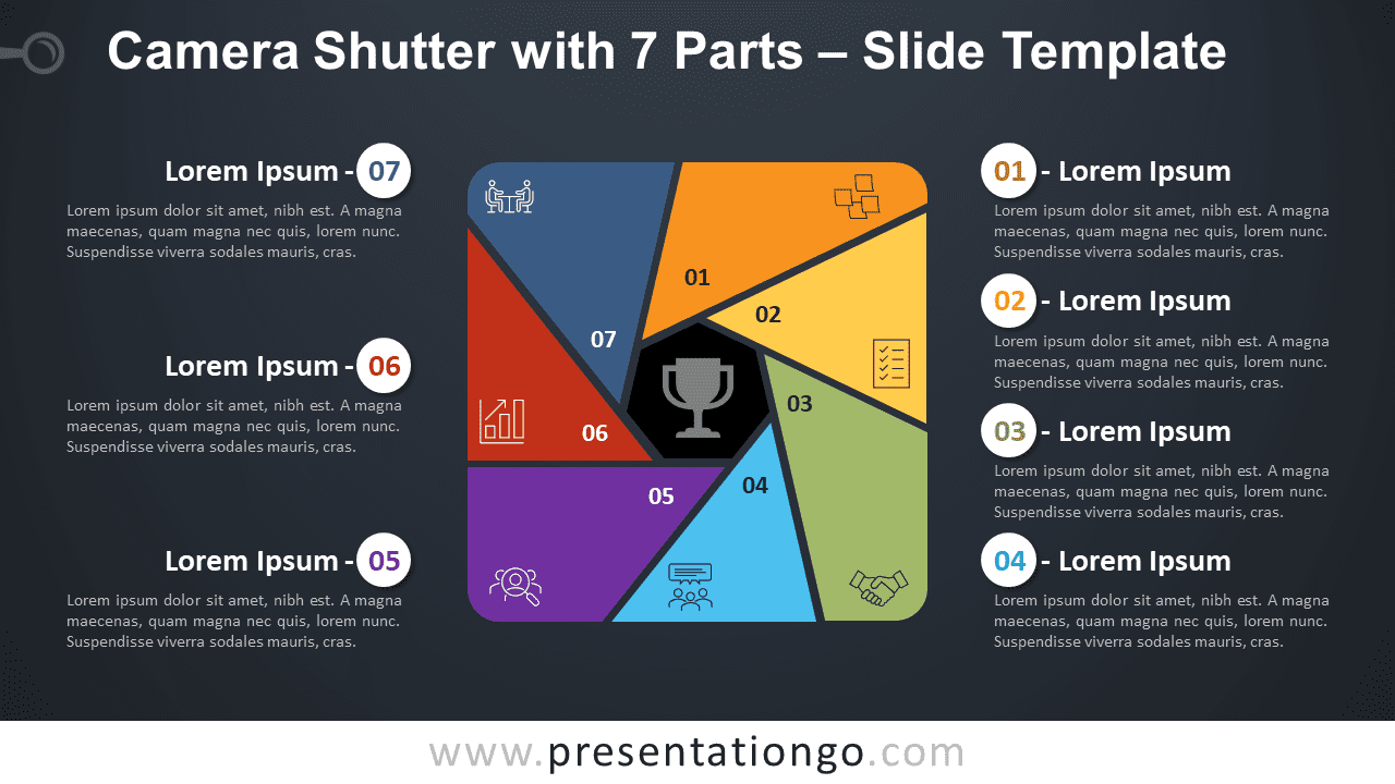 Free Camera Shutter with 7 Parts Diagram for PowerPoint and Google Slides