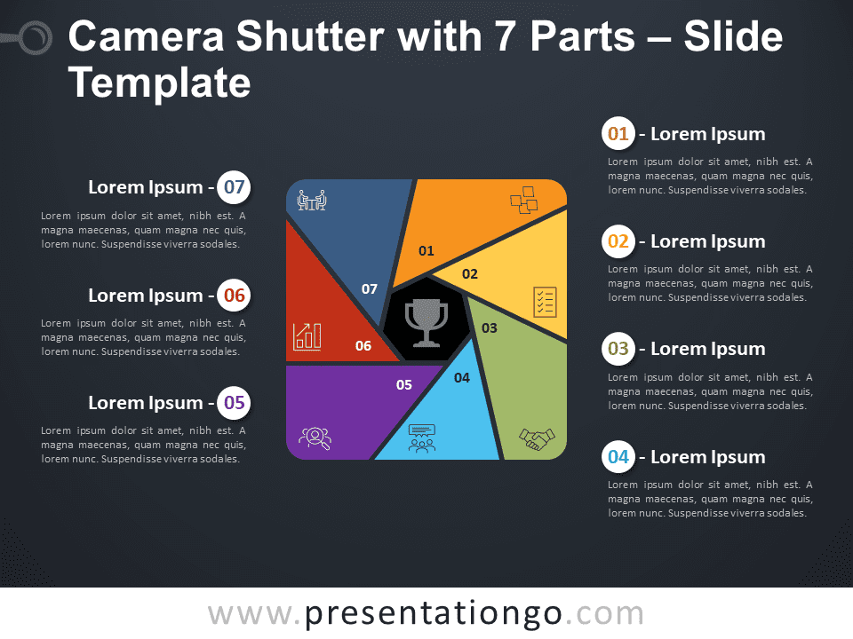 Free Camera Shutter with 7 Parts Diagram for PowerPoint