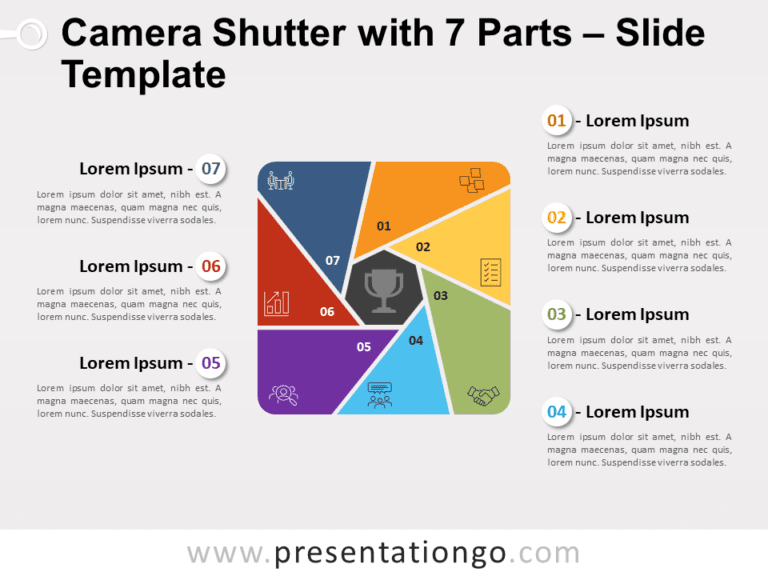 Free Camera Shutter with 7 Parts PowerPoint