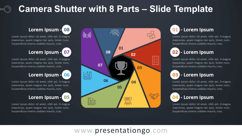 Free Camera Shutter with 8 Parts Diagram for PowerPoint and Google Slides