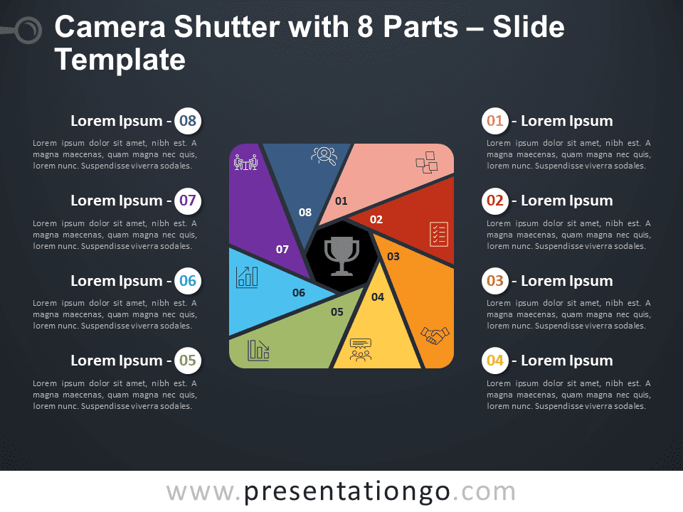 Free Camera Shutter with 8 Parts Diagram for PowerPoint