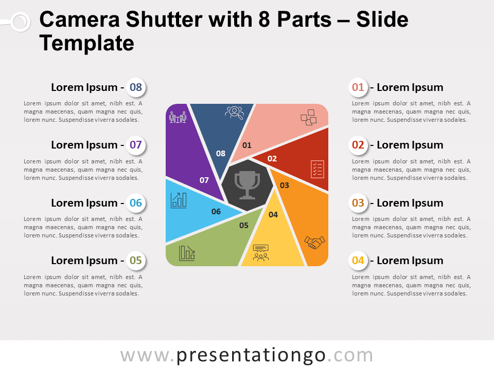 Free Camera Shutter with 8 Parts for PowerPoint