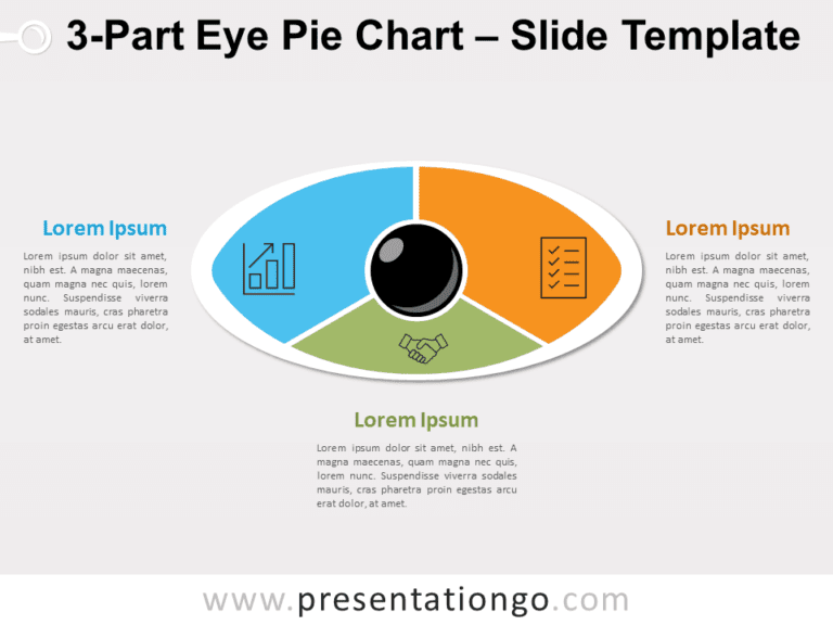 3-Part Eye Pie Chart for PowerPoint