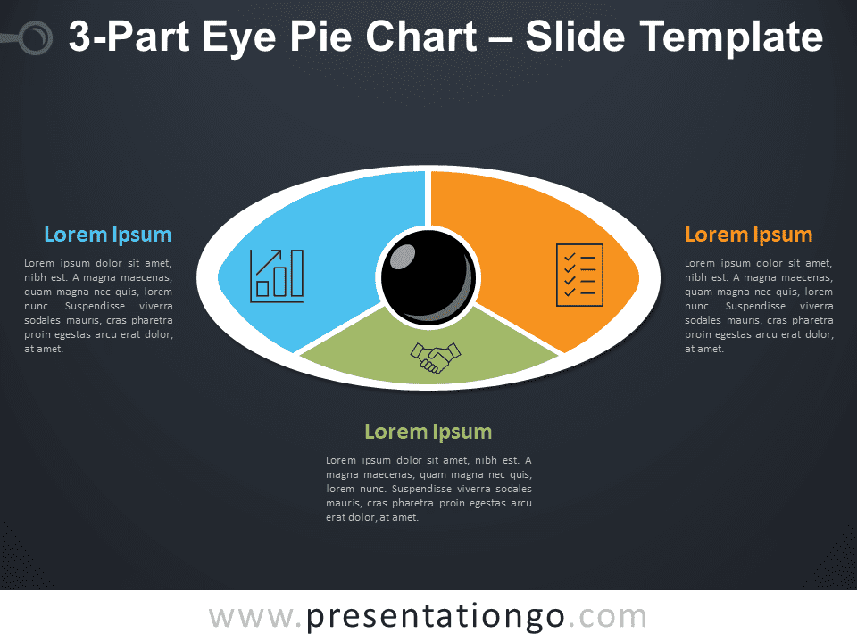 3-Part Eye Pie Chart for PowerPoint Diagram