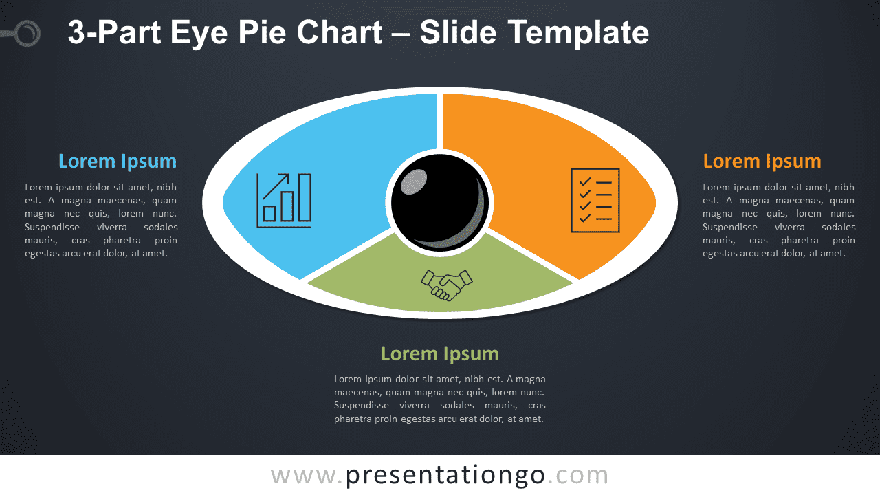 3-Part Eye Pie Chart for PowerPoint and Google Slides Diagram