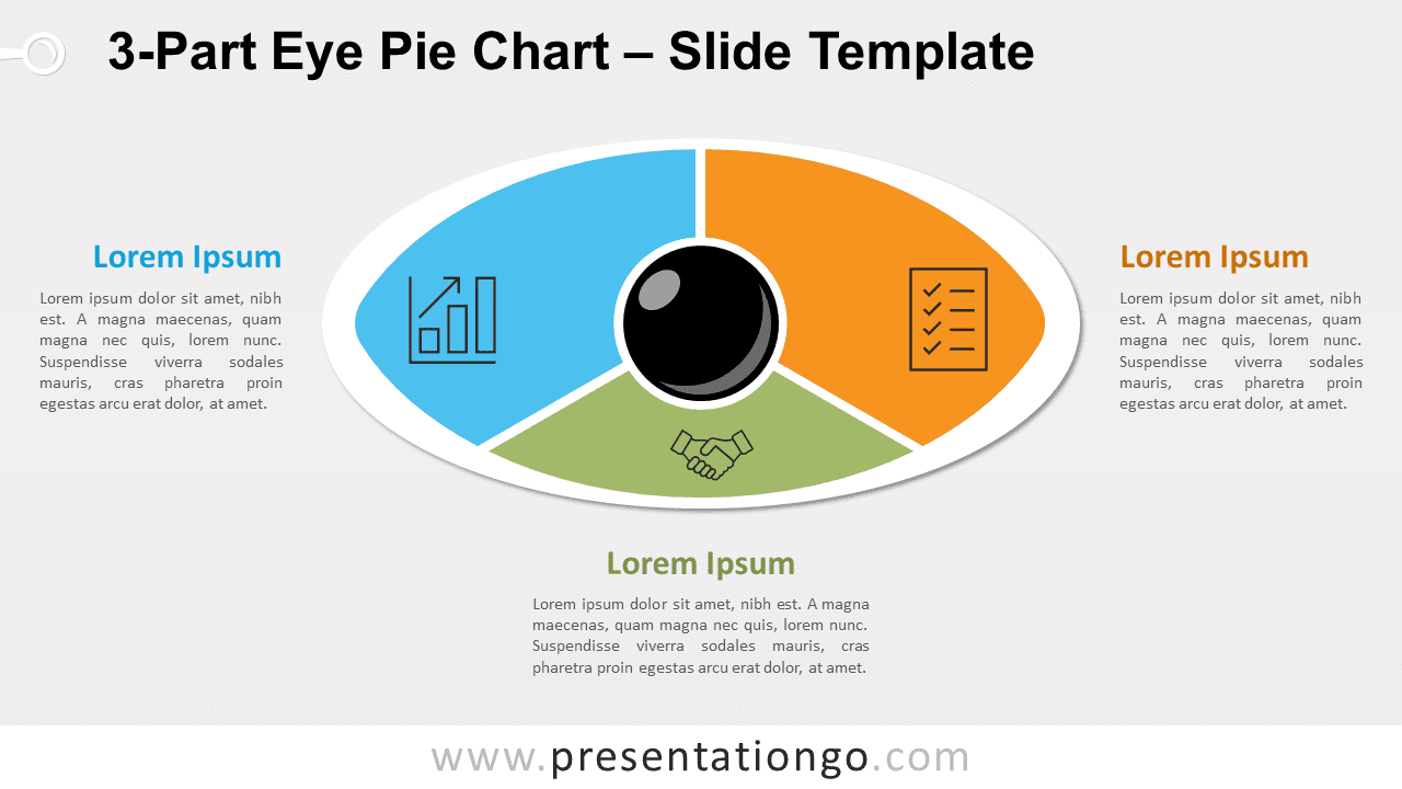 3-Part Eye Pie Chart for PowerPoint and Google Slides