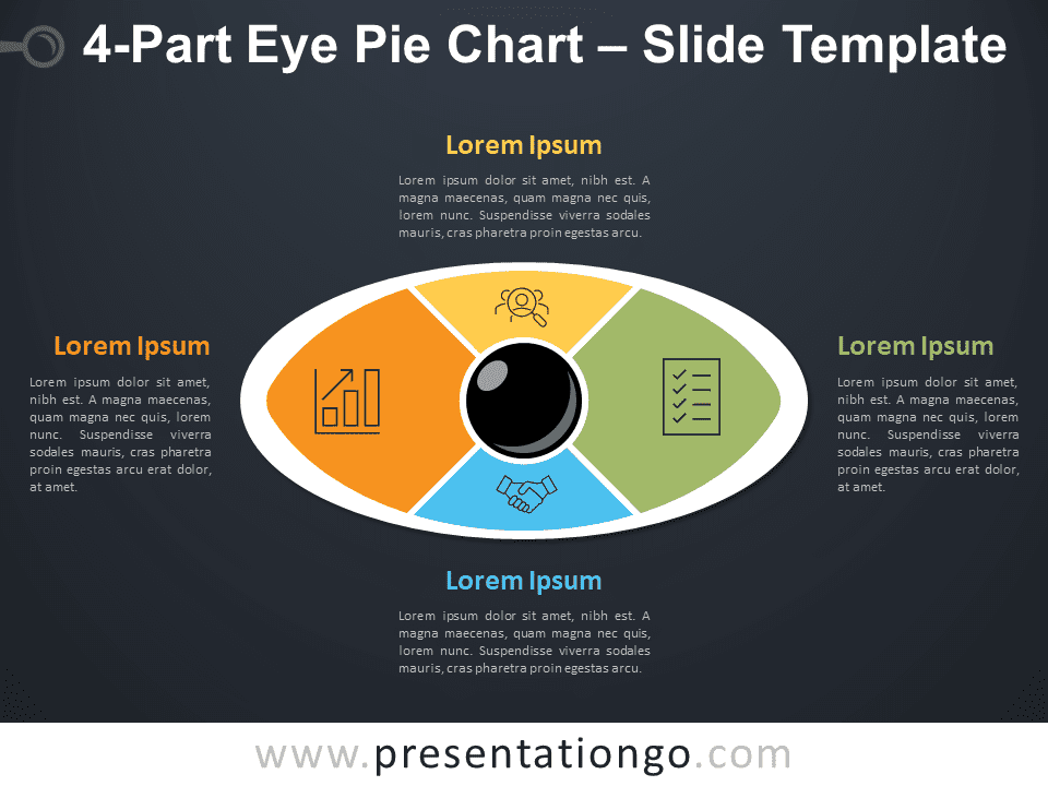 4-Part Eye Pie Chart for PowerPoint Diagram