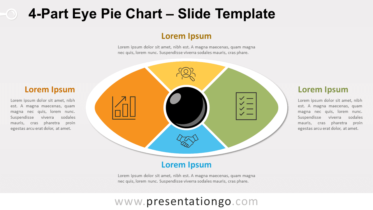 4-Part Eye Pie Chart for PowerPoint and Google Slides
