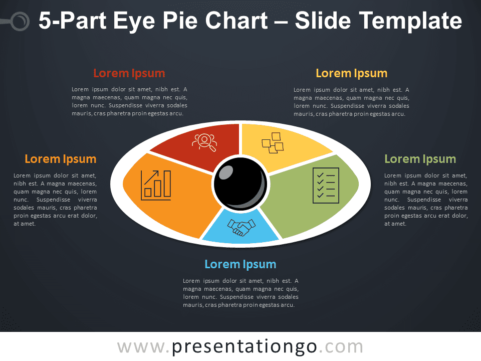 5-Part Eye Pie Chart PowerPoint Diagram