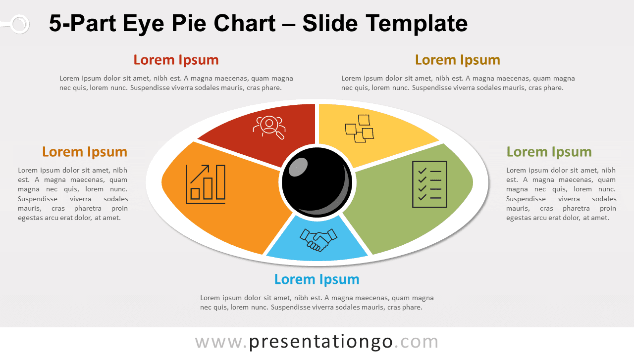 5-Part Eye Pie Chart PowerPoint and Google Slides
