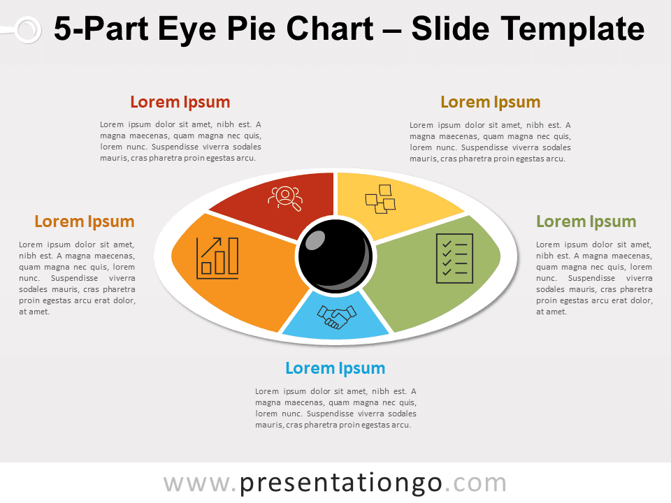 5-Part Eye Pie Chart for PowerPoint