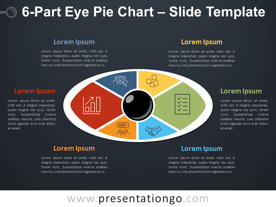 6-Part Eye Pie Chart PowerPoint Diagram