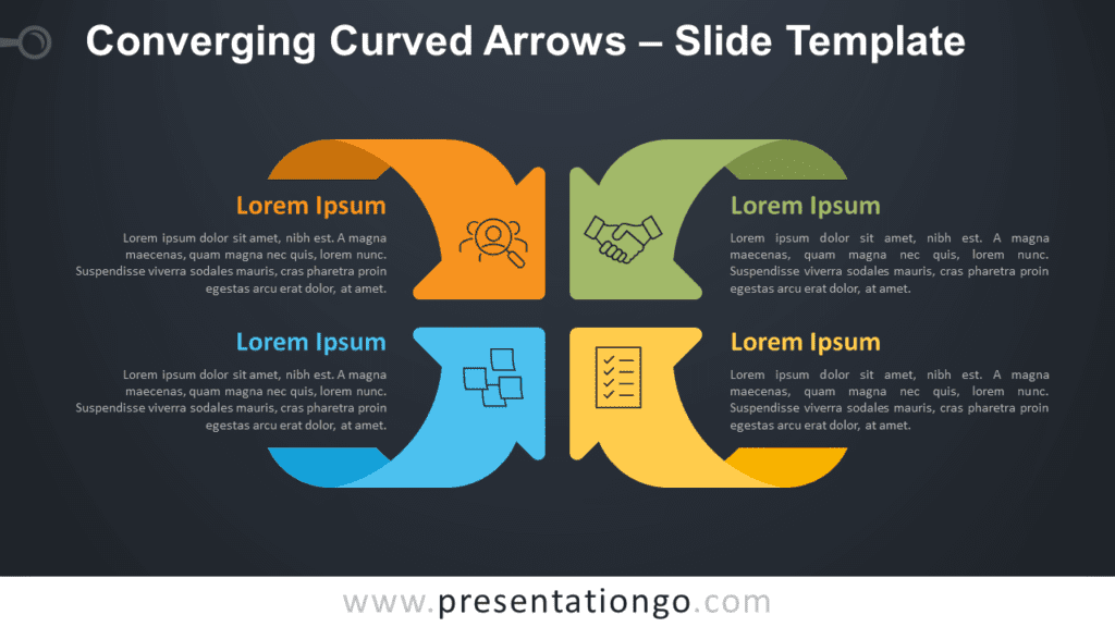 Converging Curved Arrows Matrix for PowerPoint and Google Slides