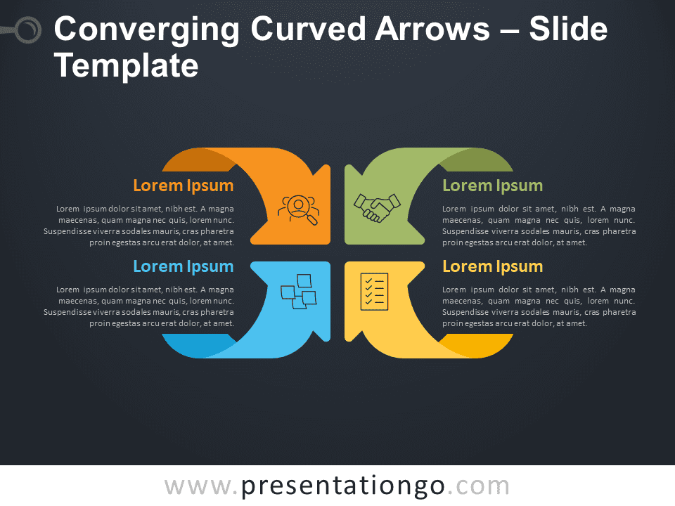 Converging Curved Arrows Matrix for PowerPoint