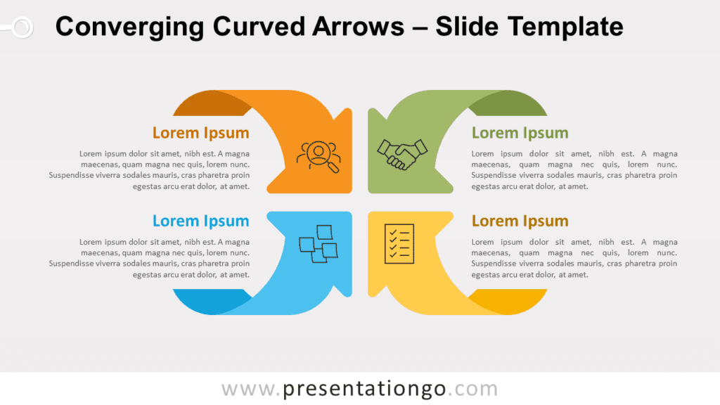Converging Curved Arrows for PowerPoint and Google Slides