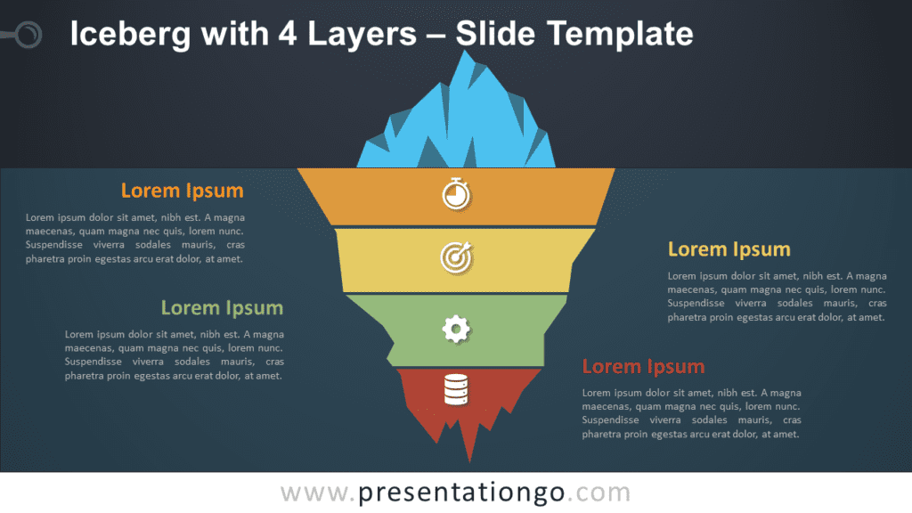 Iceberg with 4 Layers Graphics for PowerPoint and Google Slides