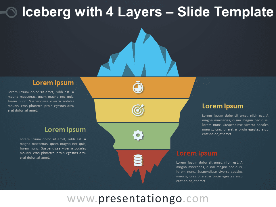 Iceberg with 4 Layers Graphics for PowerPoint