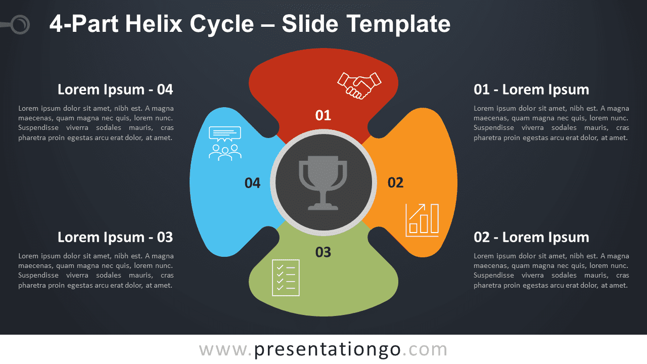 Free 4-Part Helix Cycle Diagram for PowerPoint and Google Slides
