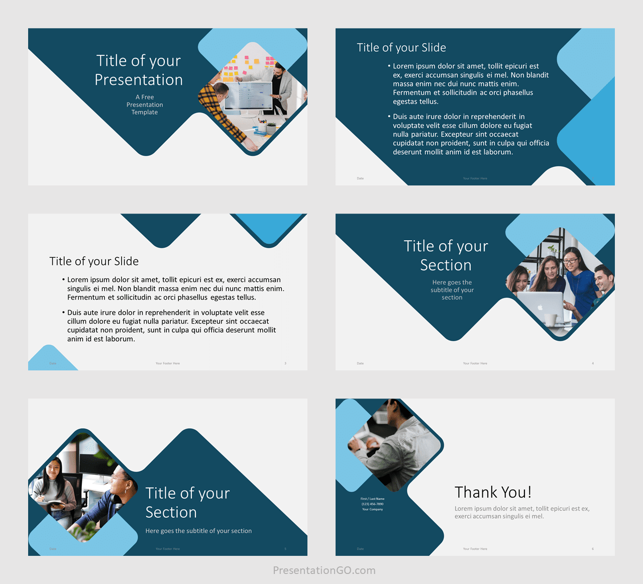 Free Abstract Rounded Template for PowerPoint and Google Slides - Example
