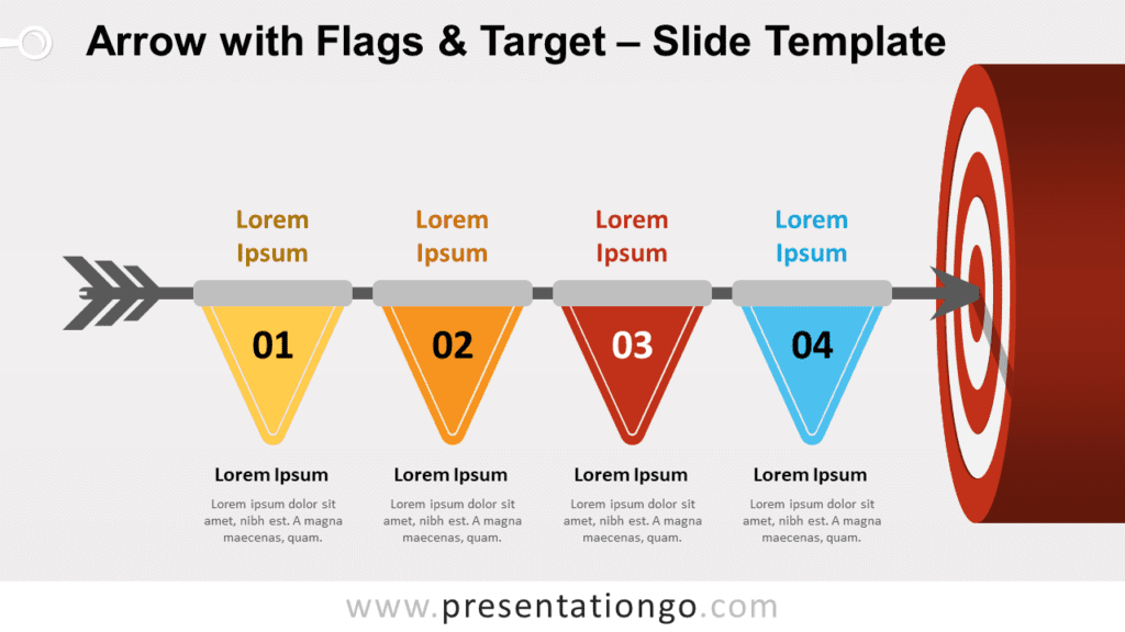 Free Arrow with Flags and Target for PowerPoint and Google Slides