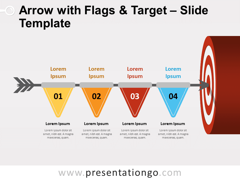 Free Arrow with Flags and Target for PowerPoint