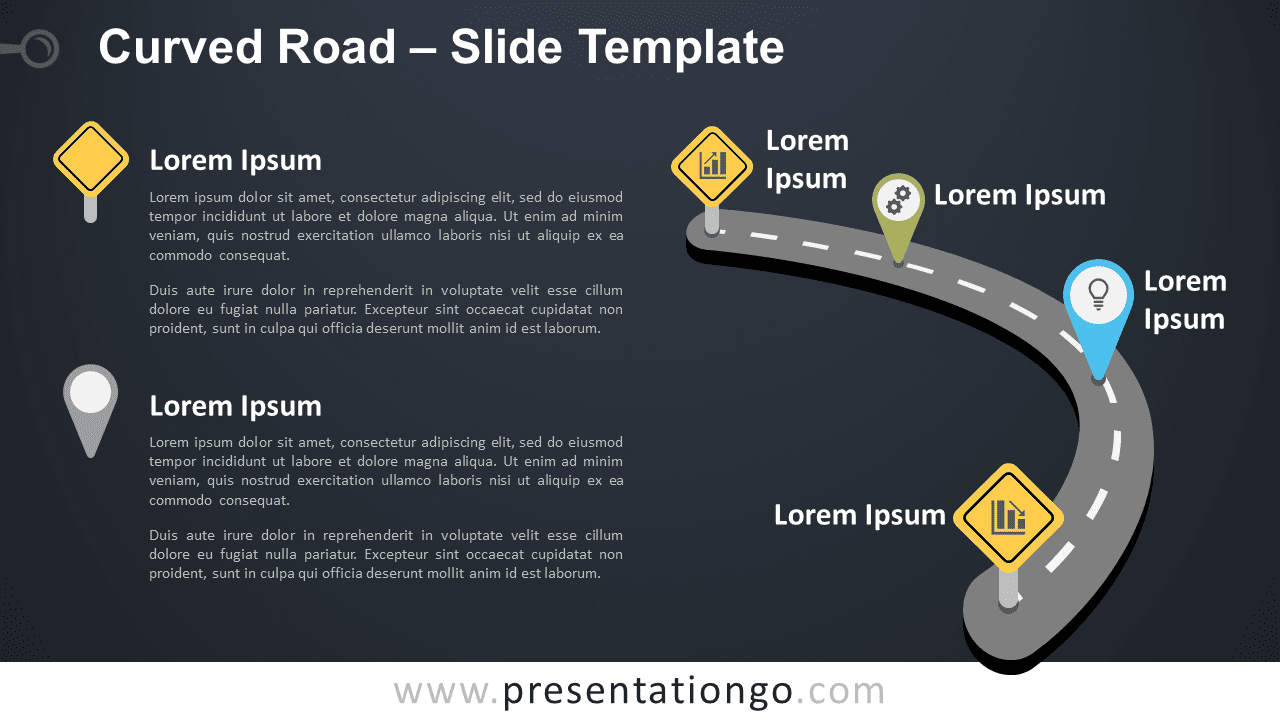 Free Curved Road Graphics for PowerPoint and Google Slides