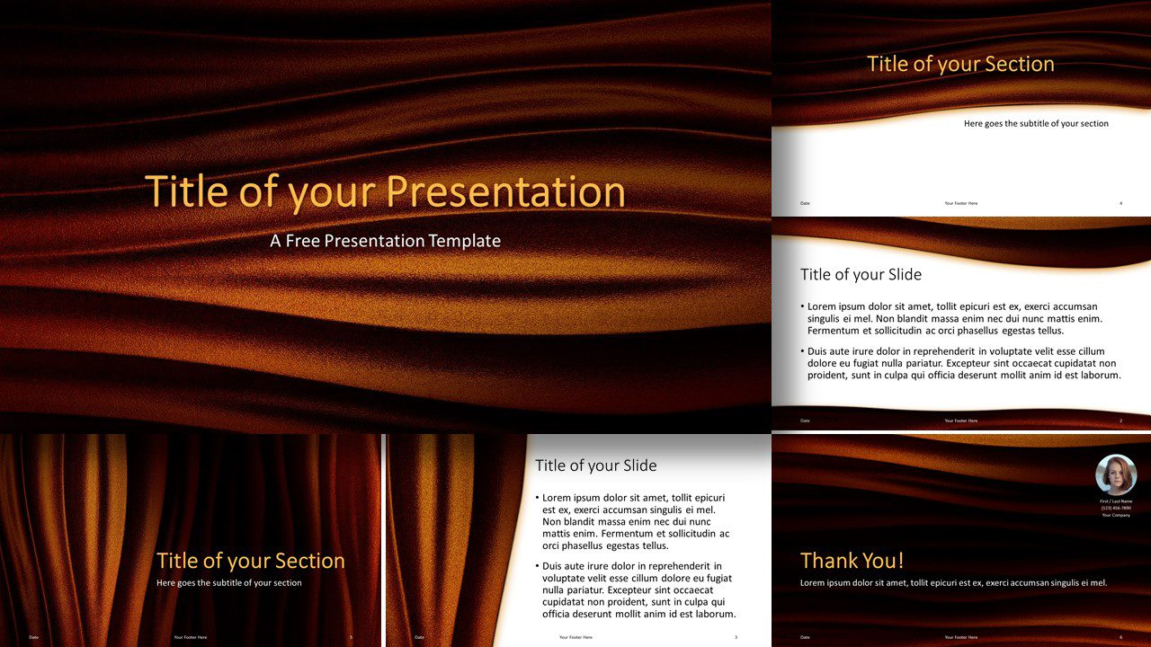 Free Golden Waves Template for Google Slides and PowerPoint