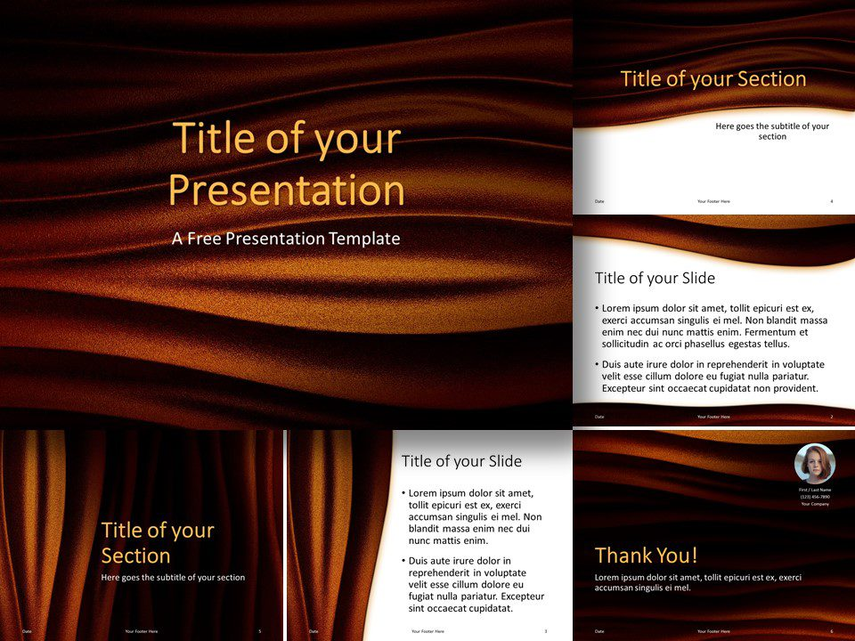 Free Golden Waves Template for PowerPoint and Google Slides