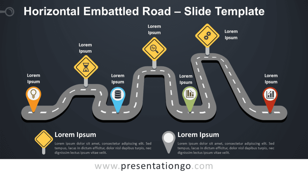 Free Horizontal Embattled Road Graphics for PowerPoint and Google Slides