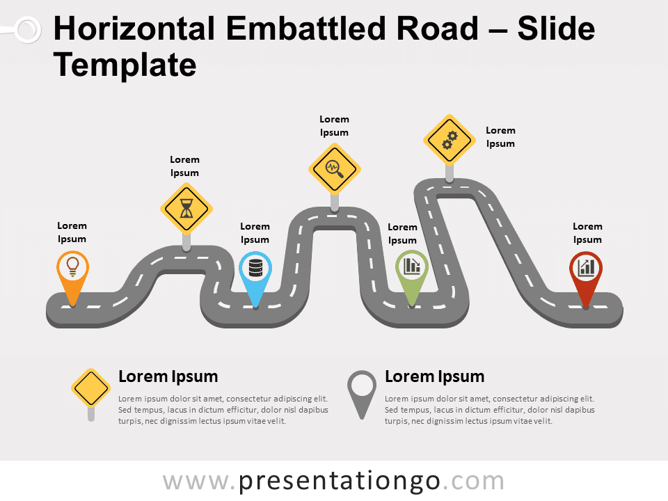 Free Horizontal Embattled Road for PowerPoint