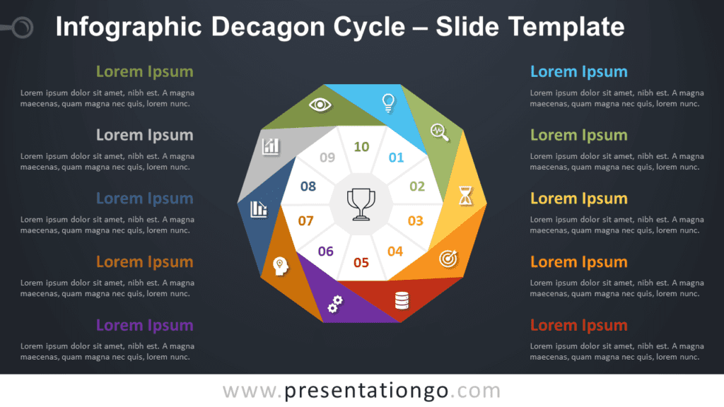 Free Infographic Decagon Cycle Diagram for PowerPoint and Google Slides
