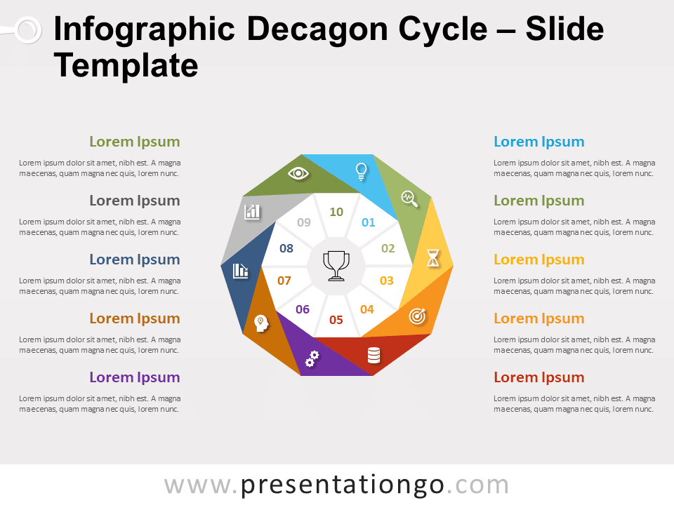 Free Infographic Decagon Cycle for PowerPoint