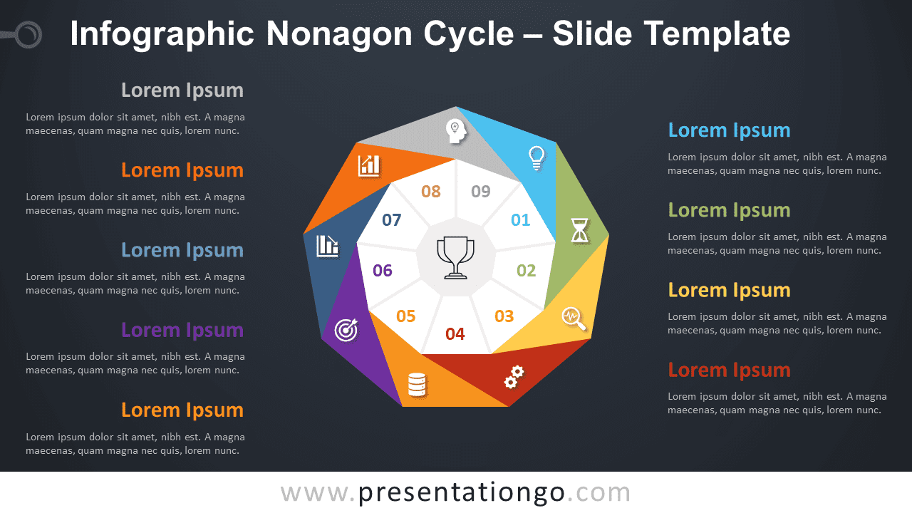 Free Infographic Nonagon Cycle Diagram for PowerPoint and Google Slides
