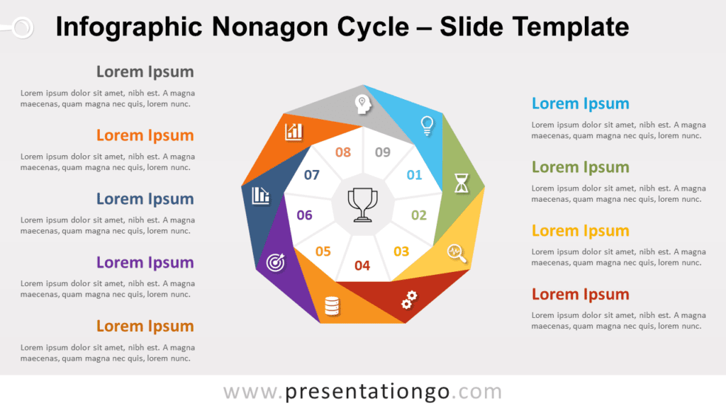 Free Infographic Nonagon Cycle for PowerPoint and Google Slides
