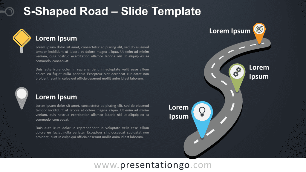 Free S-Shaped Road Graphics for PowerPoint and Google Slides
