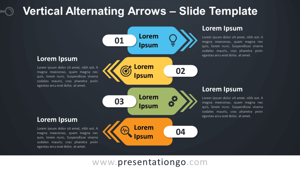 Free Vertical Alternating Arrows Graphics for PowerPoint and Google Slides