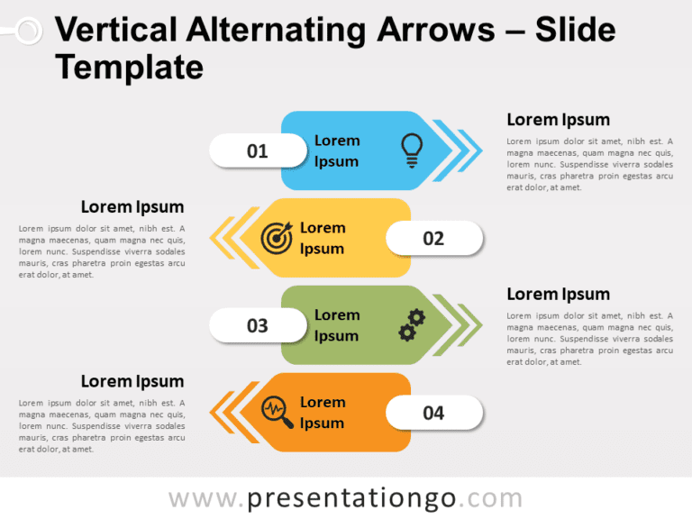 Free Vertical Alternating Arrows for PowerPoint