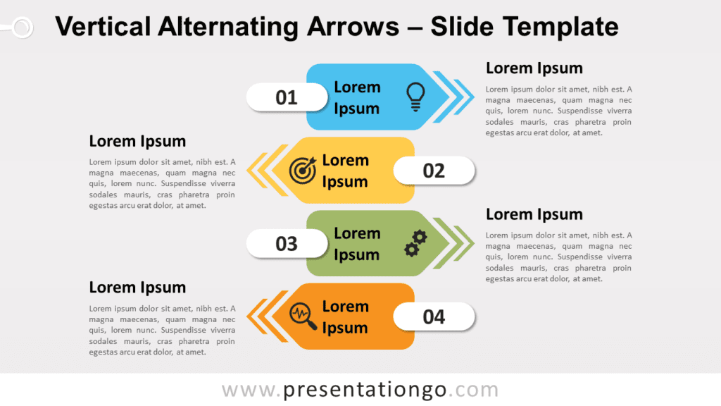 Free Vertical Alternating Arrows for PowerPoint and Google Slides
