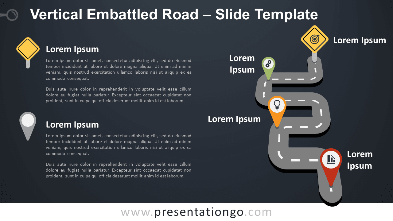 Free Vertical Embattled Road Graphics for PowerPoint and Google Slides