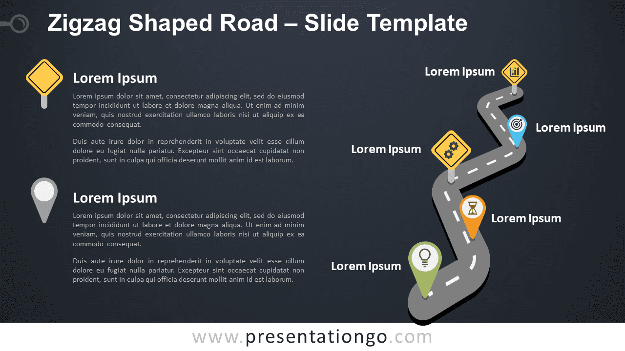Free Zigzag Road Graphics for PowerPoint and Google Slides