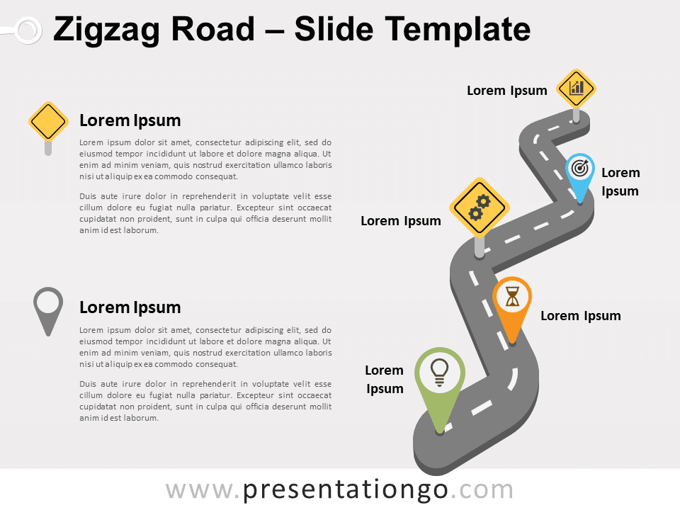 Free Zigzag Road for PowerPoint