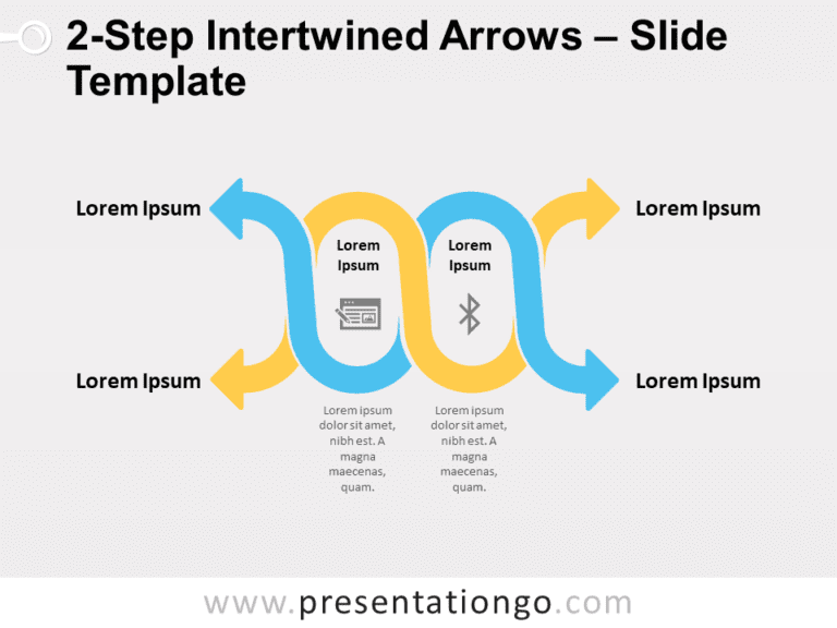 Free 2-Step Intertwined Arrows for PowerPoint