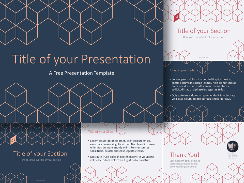 Free 3D Cube Lines Template for PowerPoint and Google Slides