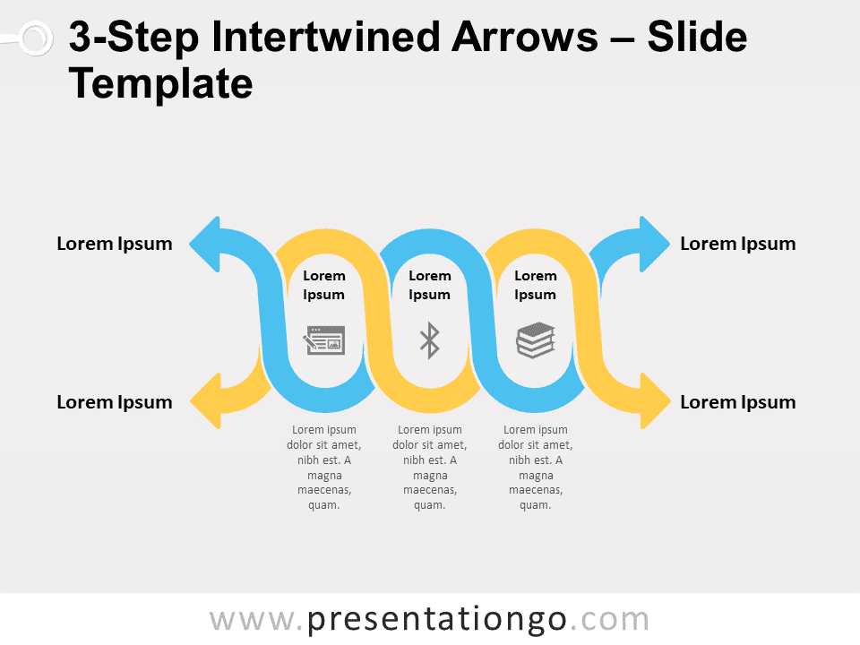 Free 3-Step Intertwined Arrows for PowerPoint