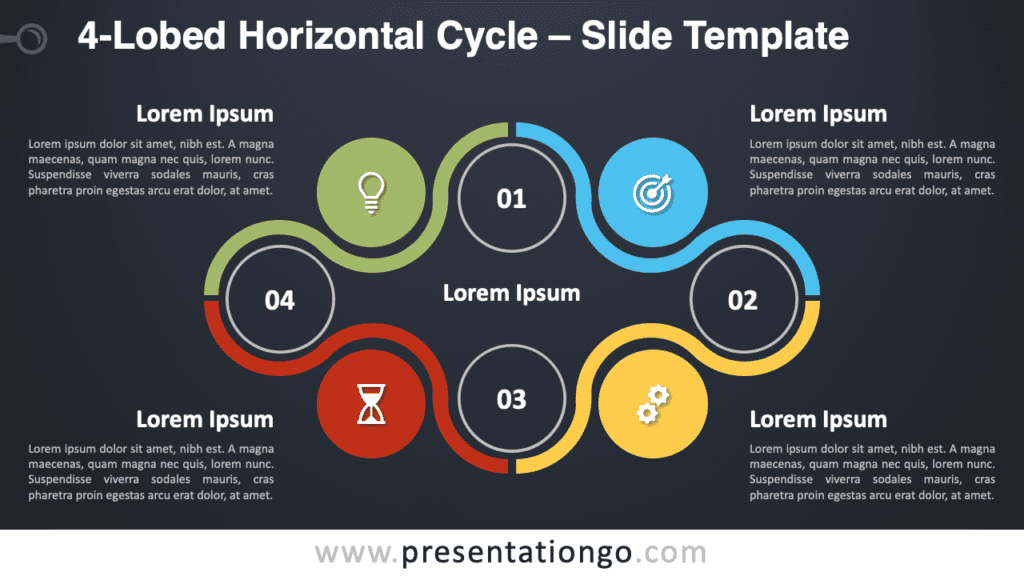 Free 4-Lobed Horizontal Cycle Diagram for PowerPoint and Google Slides